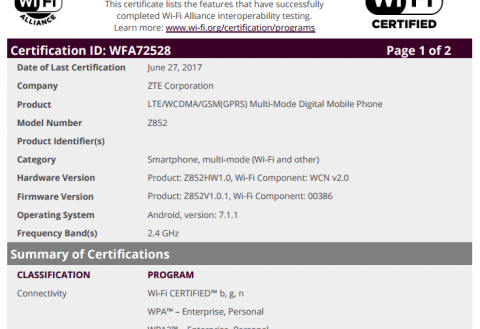 ZTE Z852 and Z9137 with Android 7.1.1 on-board appear at Wi-Fi Alliance