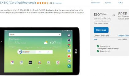 [Deal] Get Certified Restored LG G Pad X 8.0 inch for free from AT&T under 2 year contract on qualified plans