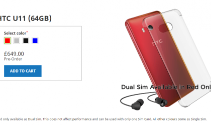 HTC U11 Solar Red color goes on pre-order in UK, supports Dual SIM