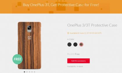 OnePlus India offering free case with OnePlus 3T till June 12