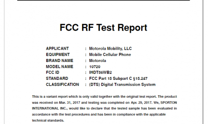 New Motorola phone with model 10720 makes a visit to FCC