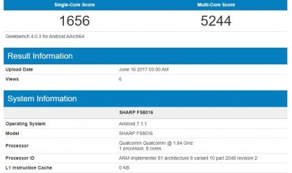 SHARP FS8016 with Snapdragon 660 processor and 4GB RAM leaks out at Geekbench