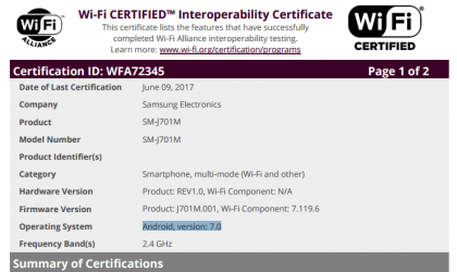 Samsung Galaxy J7 (2015) Nougat update certified at Wi-Fi Alliance