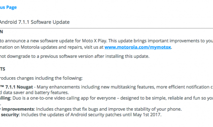 Moto X Play Android 7.1.1 Nougat update finally rolling out