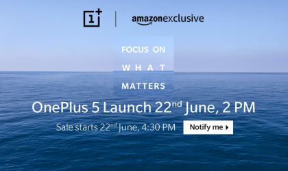OnePlus 5 now open for registration at Amazon India, sale begins on June 22