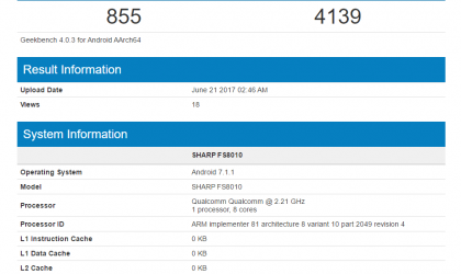 Sharp FS8010 spotted on GeekBench with Snapdragon 630 processor