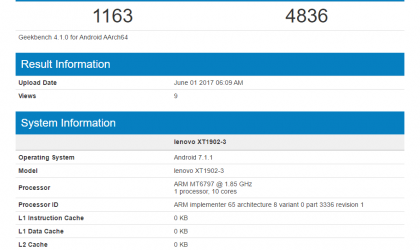 Lenovo XT1902-3 with 4GB RAM and Helio X20 spotted on Geekbench, could be Moto M2