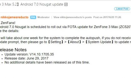 Asus Zenfone 3 Max (ZC520TL) now receiving Android 7.0 Nougat update