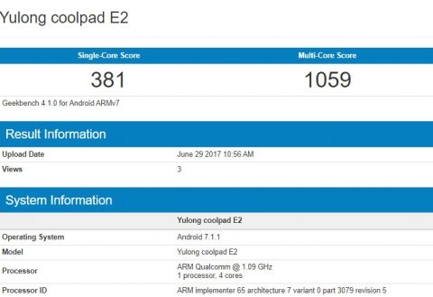 Coolpad E2 specs outed via GeekBench, features 2GB RAM, Snapdragon 210 chip and Android 7.1.1 Nougat