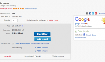 [Deal] Google Home going for $94 (plus taxes) with $15 off coupon on eBay