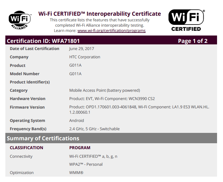 New Htc Phone With Model G011a Gets Certified By Wifi Alliance