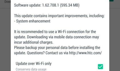 HTC U Ultra receiving an OTA update with system enhancements, software version 1.62.708.1