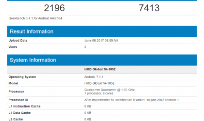 Nokia 9 with model TA-1052 spotted on Geekbench, features SD835, 4GB RAM and Android 7.1.1