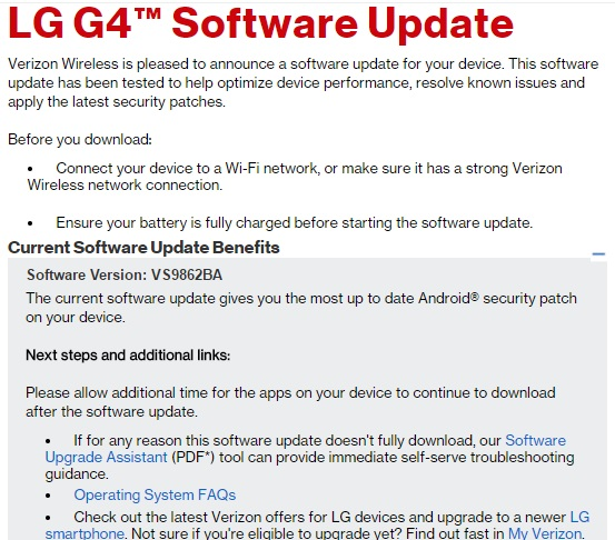 Verizon LG G4 and LG V10 receiving OTA update with latest security patch