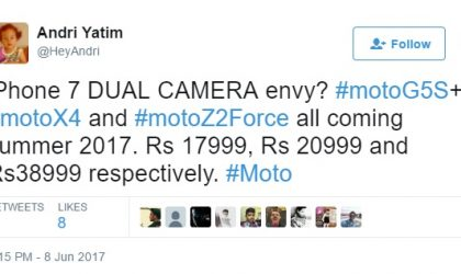 Moto G5S+, Moto X4, and Moto Z2 Force prices leaked for India
