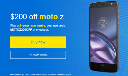 Get $200 off on Moto Z in USA with a promo code till June 17