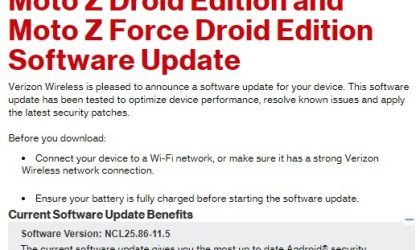 Verizon Moto Z Droid and Z Force Droid receiving OTA update with June security patch