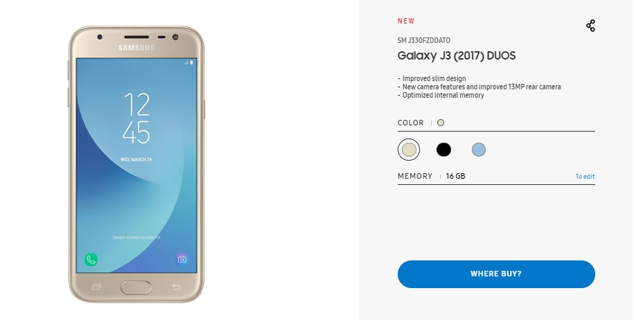 samsung launches galaxy j3 2017 duos in germany