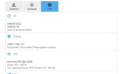 Galaxy J7 (2016) Nougat update being tested by Samsung, spotted on GFXBench