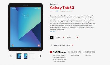Samsung Galaxy Tab S3 now available at Verizon for $29.16/month