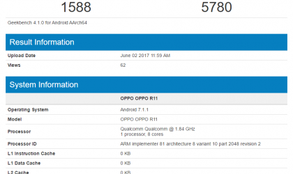 Oppo R11 spotted on GeekBench with SD 660, 4GB RAM and Android 7.1.1 on board