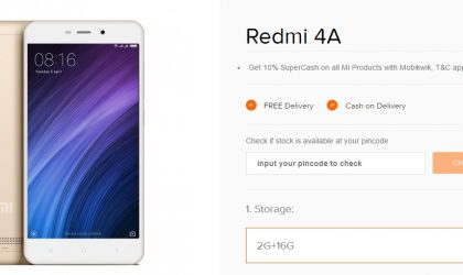 Xiaomi Redmi 4A sale going live in India today