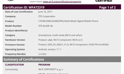 ZTE Blade A6 gets certified by WiFi Alliance, runs on Android 7.1.1 Nougat