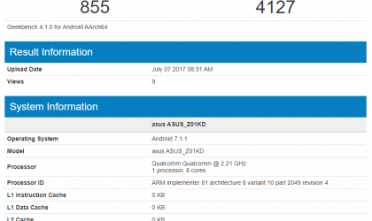 Asus ZenFone 4 with Snapdragon 660 clocked at 2.21GHz hits Geekbench