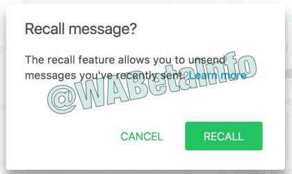WhatsApp recall feature to come soon?