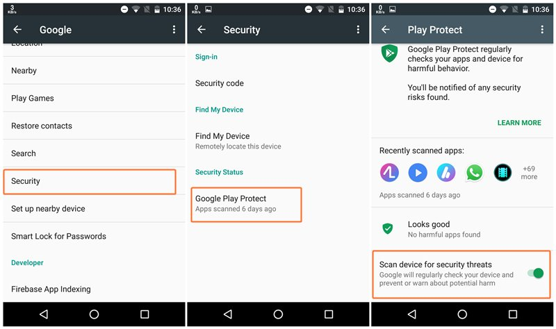 How to Turn On or Off (disable) Google Play Protect on Android devices