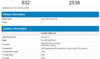 Huawei JMM-AL00 hits Geekbench, features 3GB RAM, MT6750 processor and Android Nougat