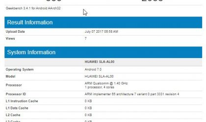 Huawei Enjoy 7 (SLA-AL00) benchmarks available as device hits Geekbench