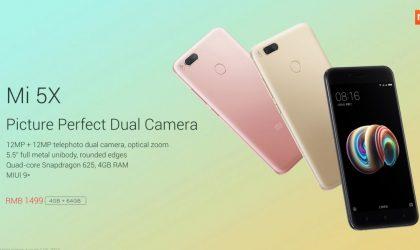 Xiaomi Mi 5X price set at RMB 1499 ($220)