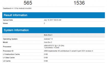 Xolo Era 3 specs leak: Quad core MT6737 processor, Android 7.0 Nougat and 1GB RAM on-board