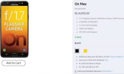 Galaxy On Max now available for purchase in India for INR 16,900 at Samsung Shop online
