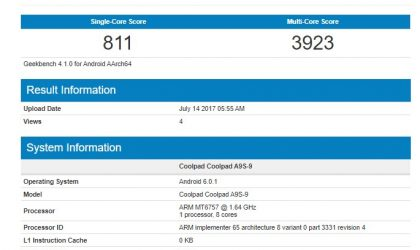 Coolpad A9S release date and specs: Device leaks out at Geekbench