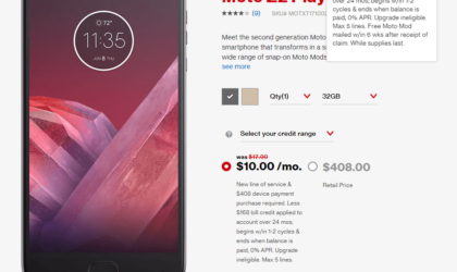 Verizon Moto Z2 Play offer: $168 off deal available ATM under 2-year contract