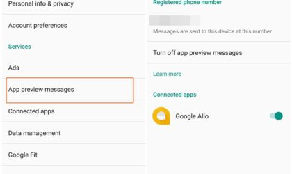 How to enable or disable app preview messages on Android