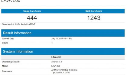 Lava Z60 shows up online with Android 7.0 Nougat, MT6737M processor and 1GB RAM
