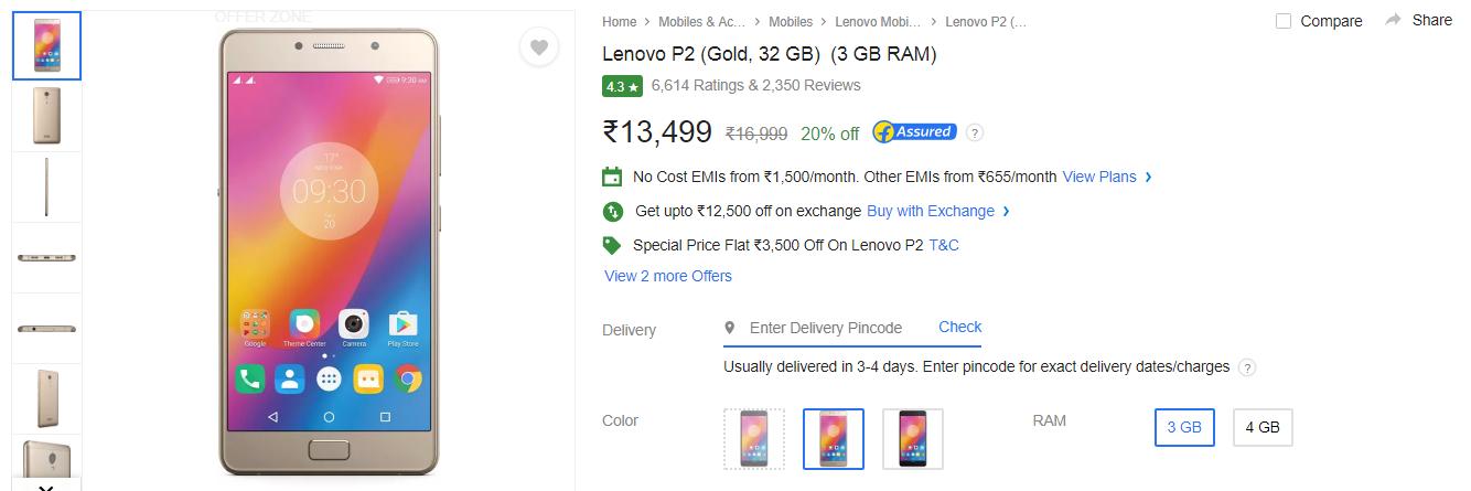 Lenovo P2 Deal: Save Rs  3,500 on 3GB/32GB variant on Flipkart