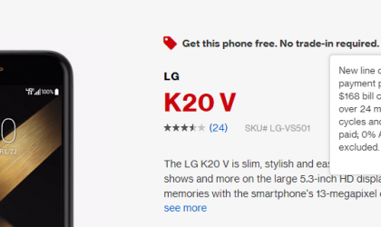 Get Verizon LG K20 V free under this deal, no monthly payments
