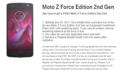 T-Mobile Moto Z2 Force BOGO offer is live already