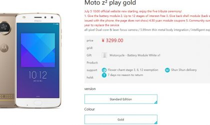Moto Z2 Play goes on sale in China; priced at ¥3299 ($485)