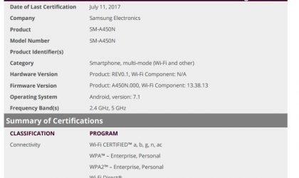 Samsung SM-A450N and SM-A450XN clear WiFi Alliance, could release soon