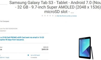 Galaxy Tab S3 Deal: Get it for $500 along with $100 eGift card from Dell