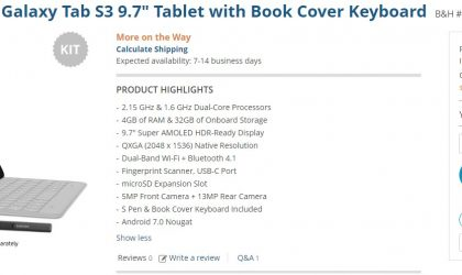 Galaxy Tab S3 Deal: Get the 9.7″ variant with free book cover keyboard for $500 at B&H