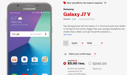 Verizon Deal: Samsung Galaxy J7 V is on 50% discount right now at just $5 per month