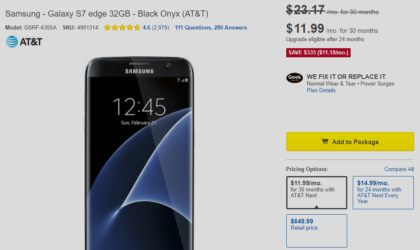 AT&T Galaxy S7 Edge Deal: Get $335 discount (48%) from Best Buy on contract