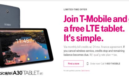 T-Mobile Deal: Get $144 worth 8-inch Alcatel A30 LTE tablet for free with new connection