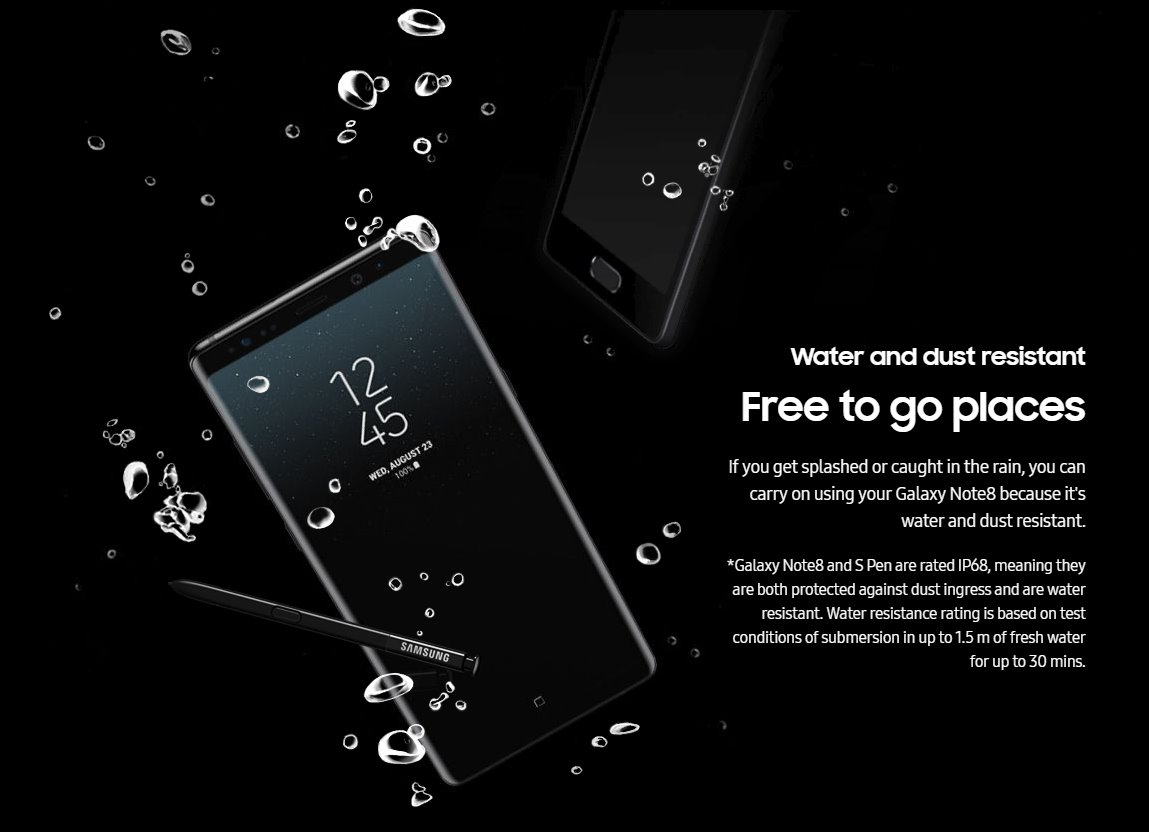Galaxy Note 8 Is Waterproof With An Ip68 Rating The
